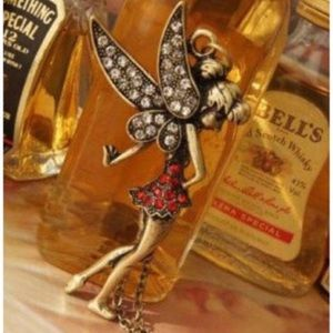 Jewelry - NWT Fairy Tinkerbell Long Bronze & Red Necklace